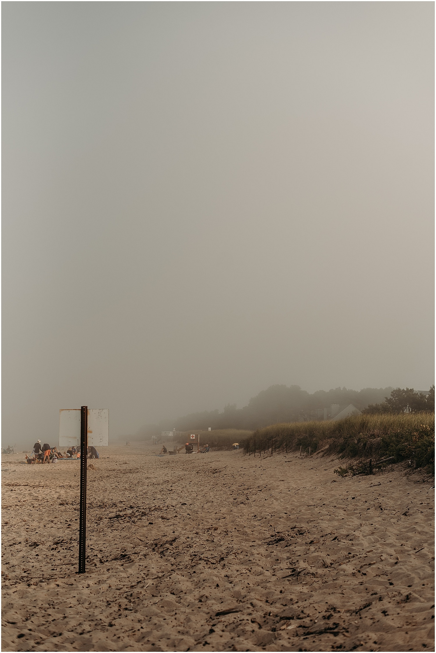 a shot of the very foggy ferry beach