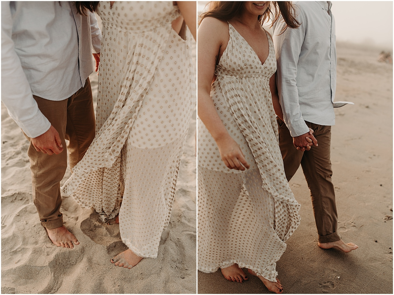 barefoot couple walking down the beach at their Ferry Beach Engagement