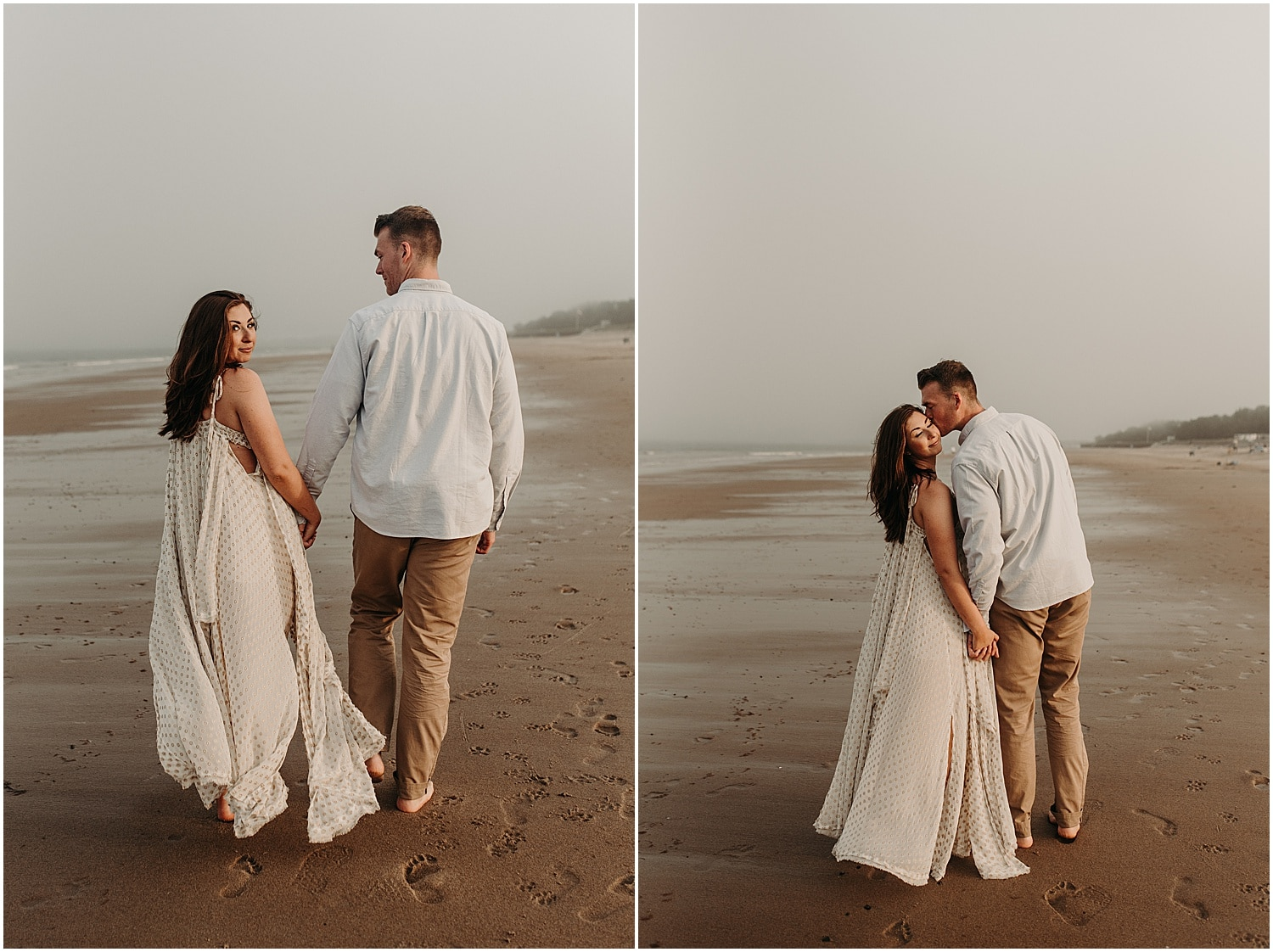 couple walking away in the foggy sunset while the man kisses the woman's cheek at the Ferry Beach Engagement session