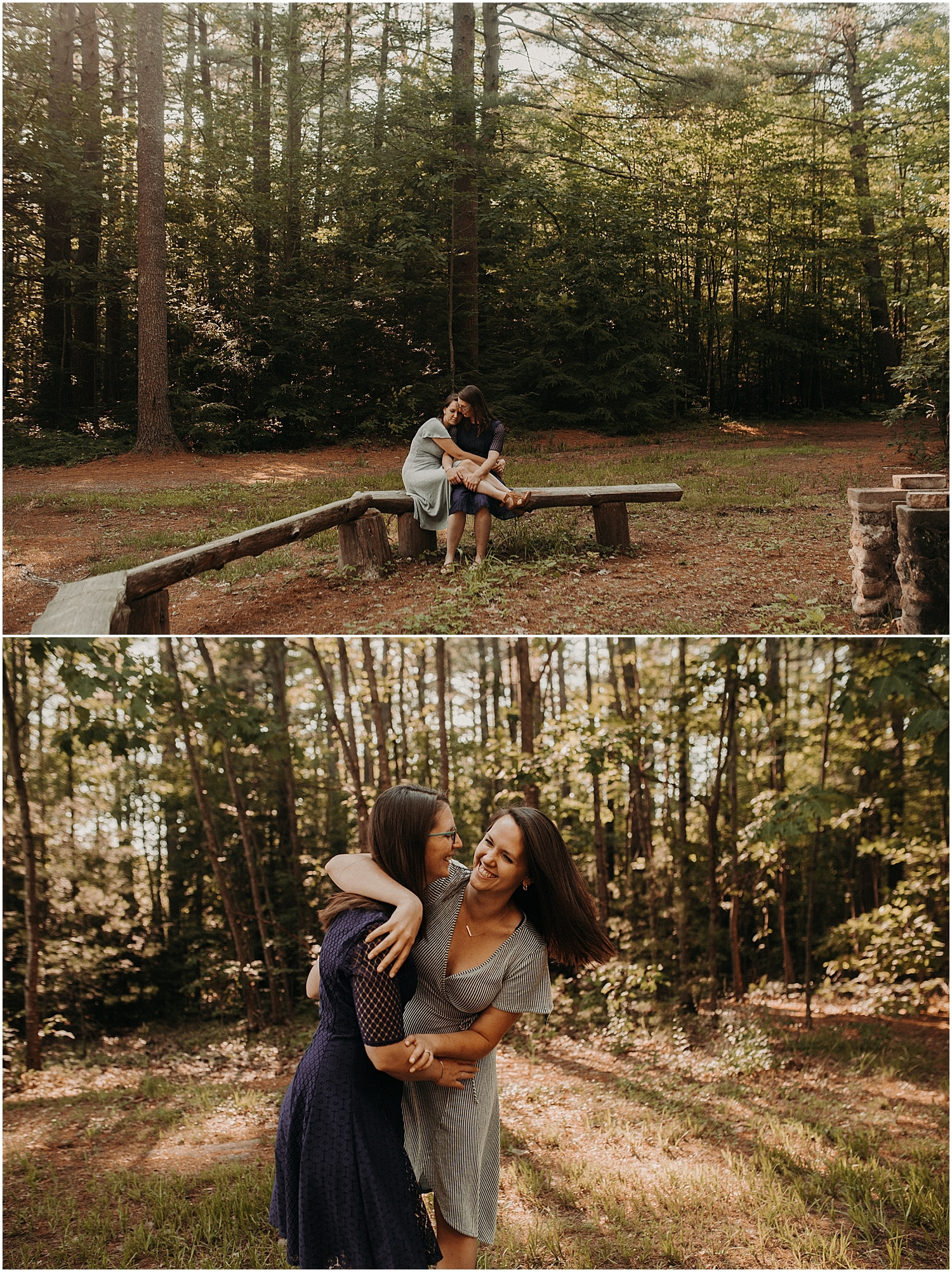 couple laughing an snuggling during their Pineland Farms Engagement session