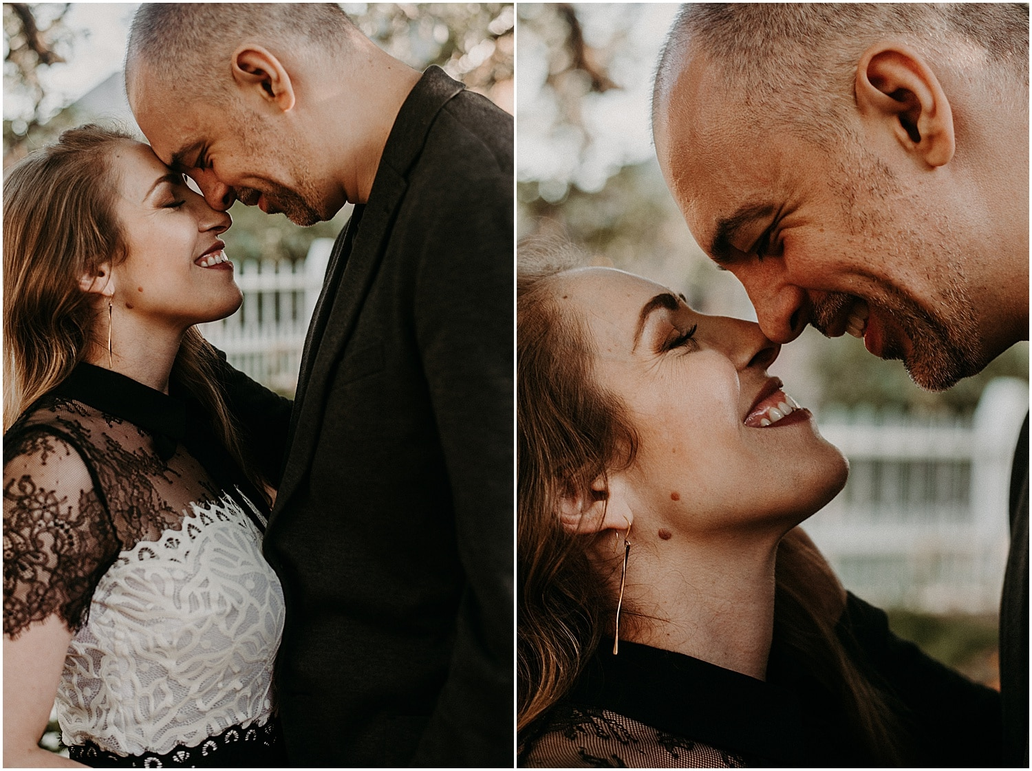 man and woman getting nice and snuggly during their Portsmouth Engagement Photography