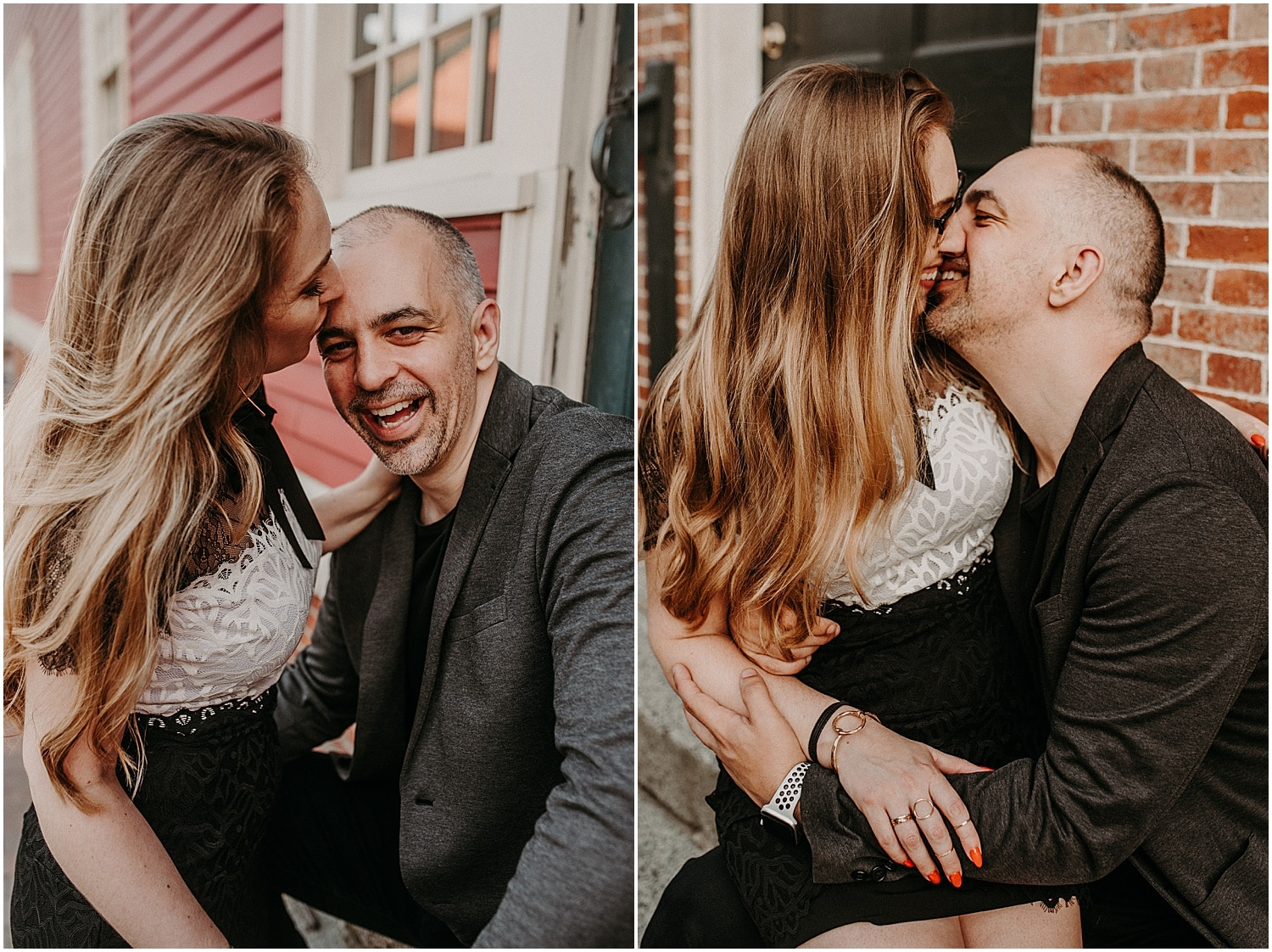 couple laughing and giggling during their Portsmouth Engagement Photography