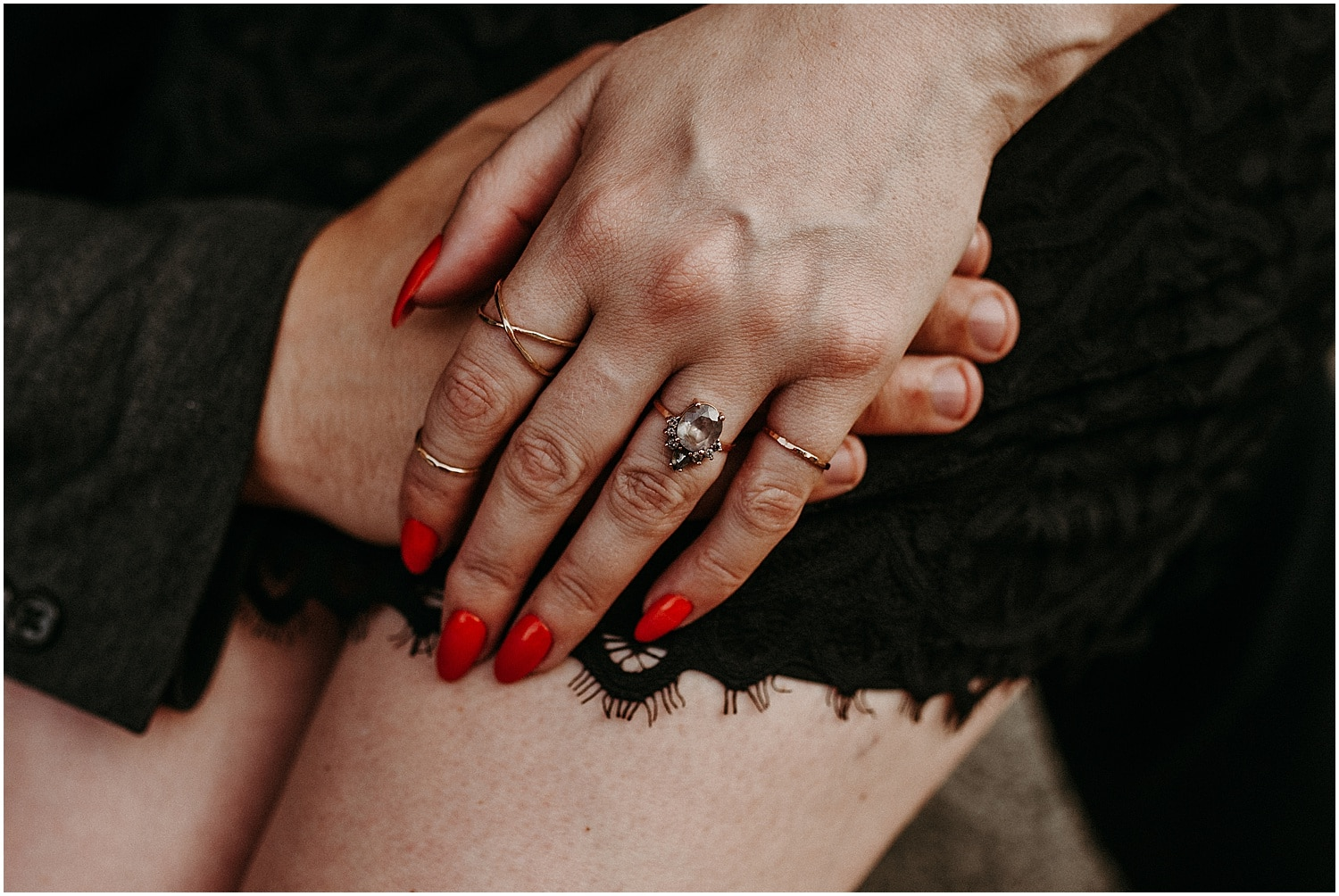 close up of couples hands during Portsmouth Engagement Photography