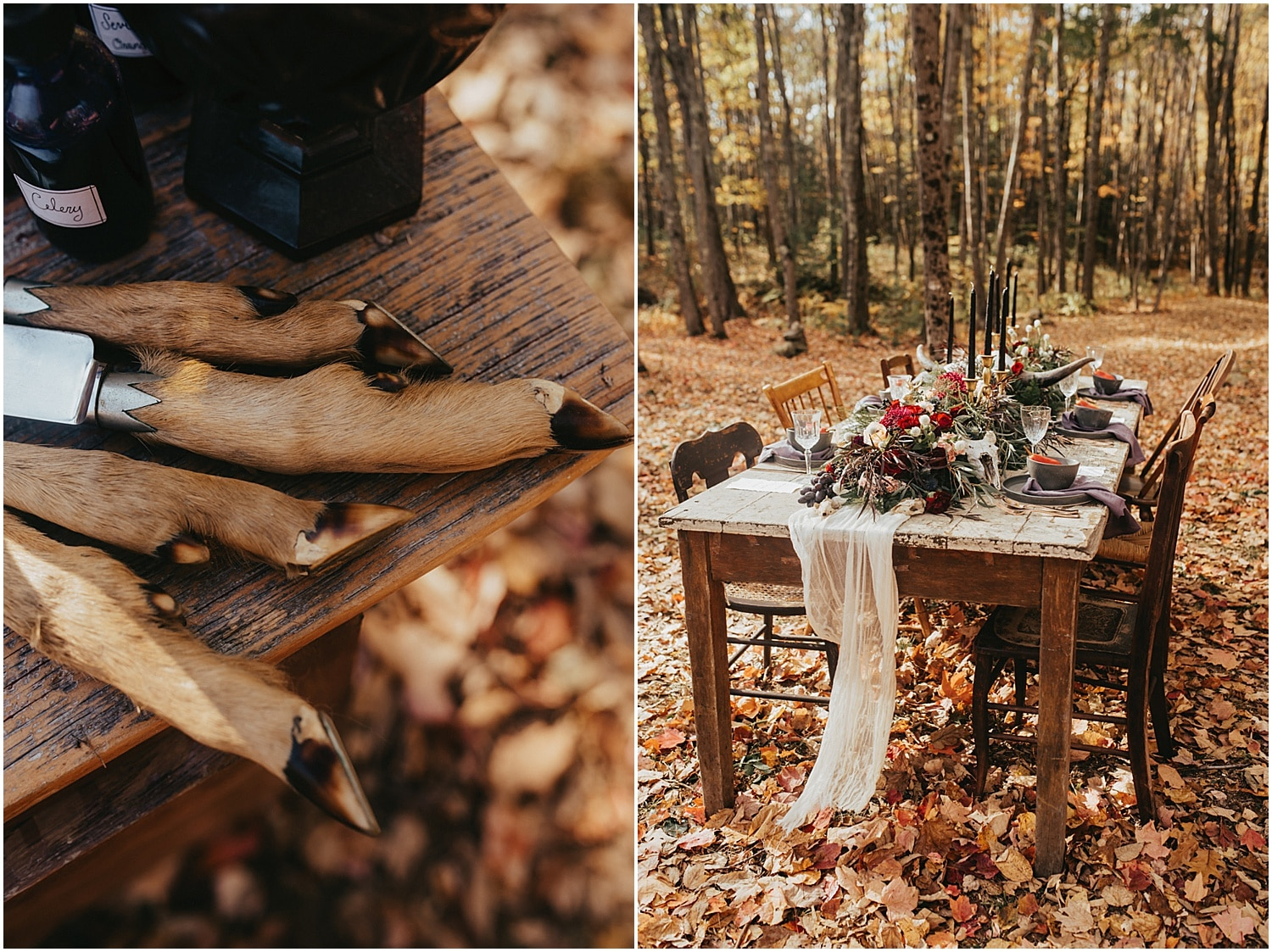 table set in the forest of this halloween wedding inspiration shoot