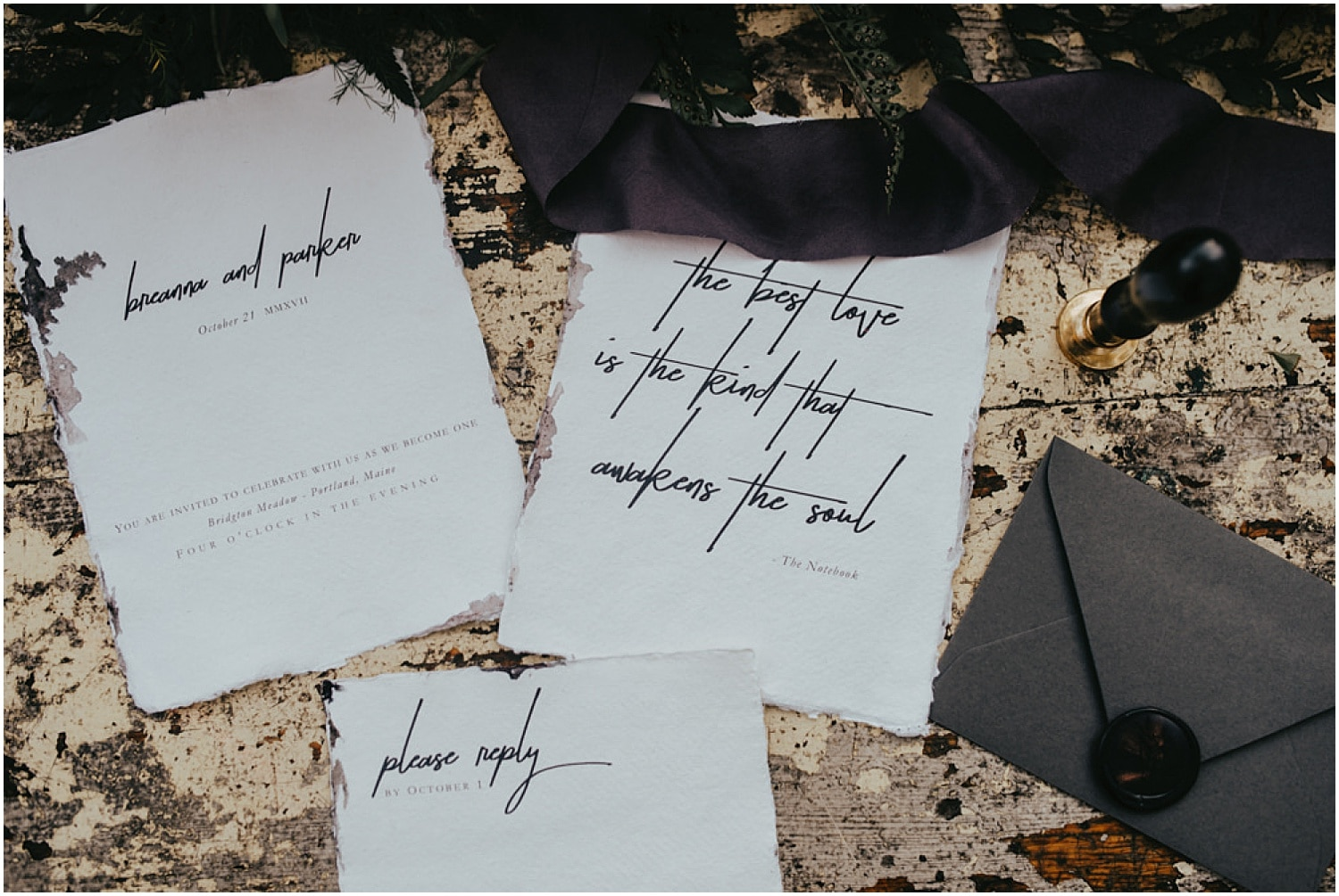 wedding invitation calligraphy in a halloween inspired style