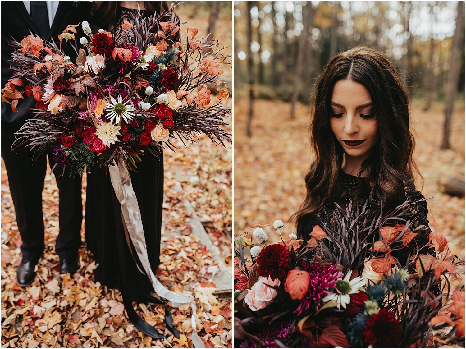 beautiful big bouquet of wildflowers at this fall halloween wedding inspiration shoot
