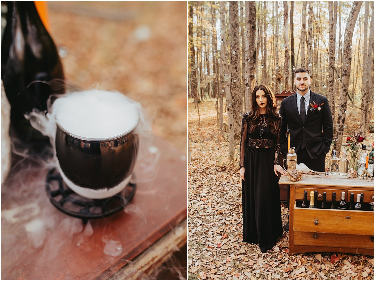 bubbling over drinks for halloween wedding inspiration