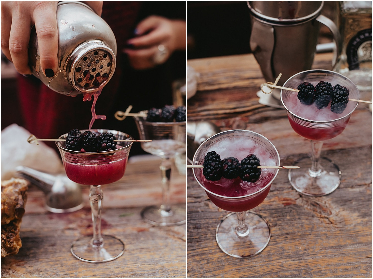 blackberry and red drinks for halloween wedding inspiration
