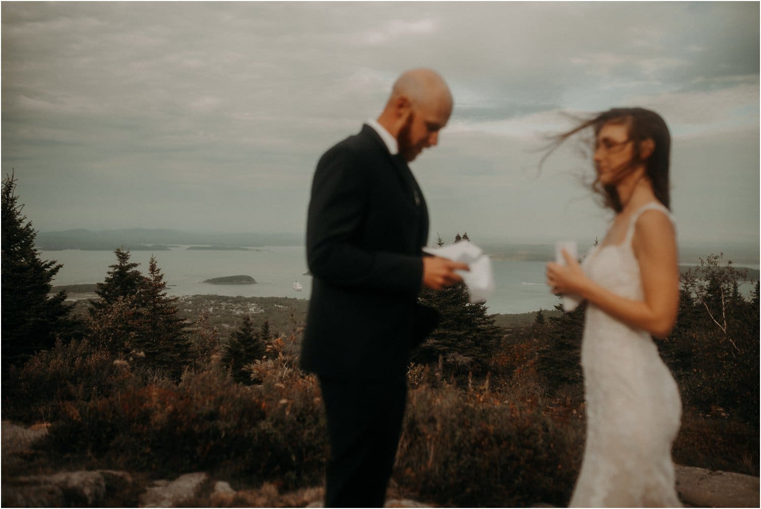 reading vows in acadia national park on cadillac mountain