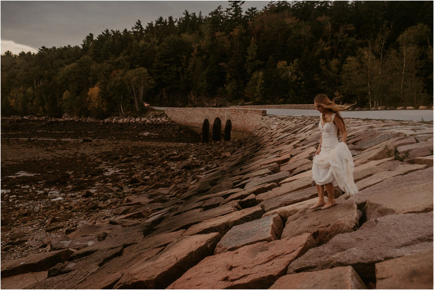 woman walking in acadia national park