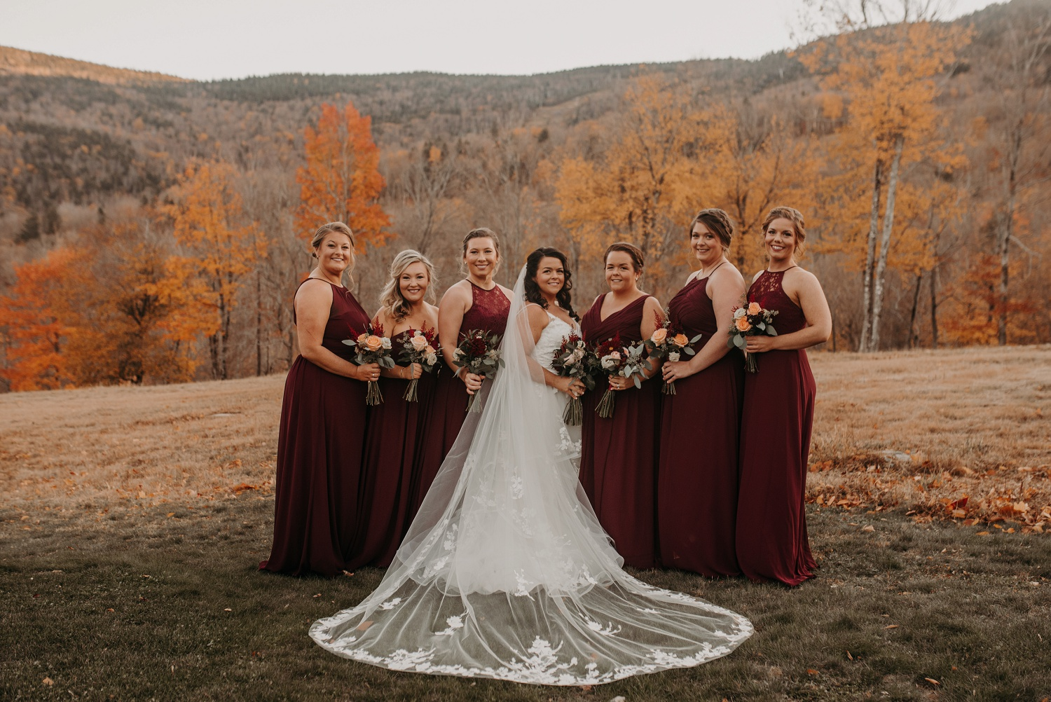sunday river wedding maine bridesmaids