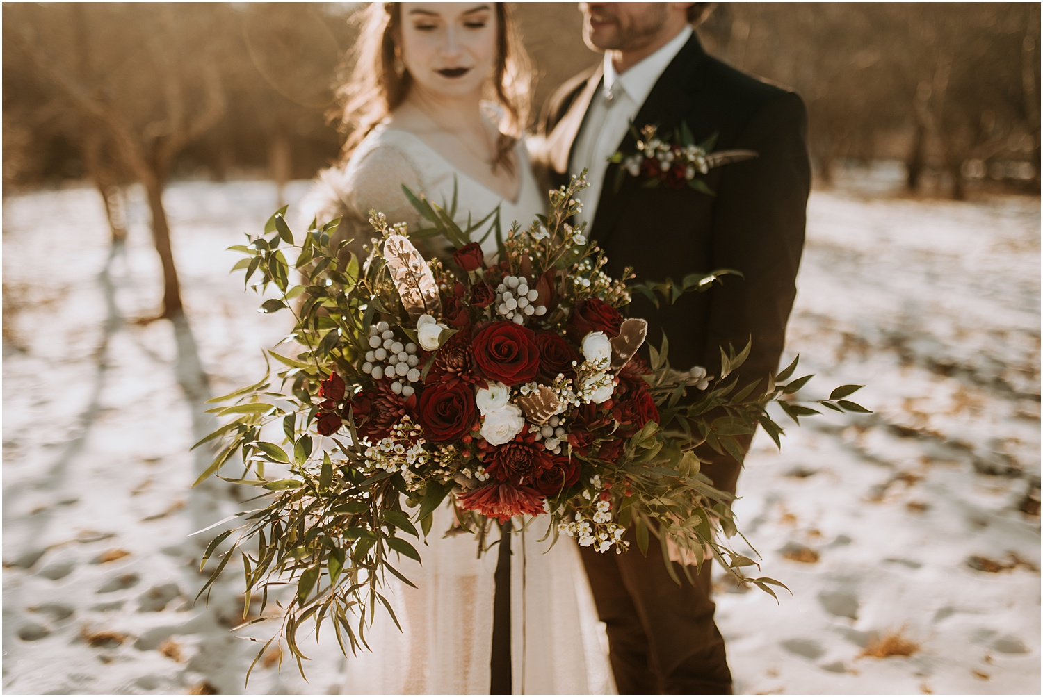 Maple Rock Farm Wedding Bouquet with feathers